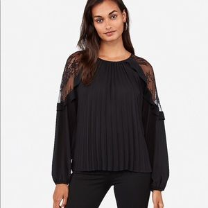 Pleated Lace Shoulder Top